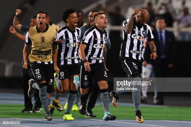 Players of Botafogo celebrate a scored goal against Nacional URU during a match between Botafogo and Nacional URU as part of Copa Bridgestone...