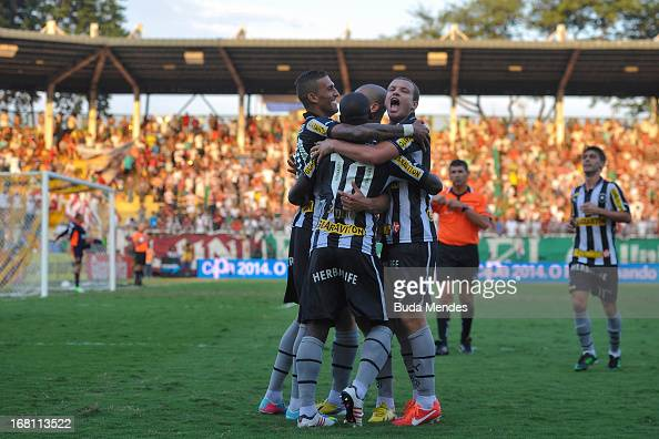 Players of Botafogo celebrates a goal against Fluminense during a match between Fluminense and Botafogo as part of Rio State Championship 2013 at...