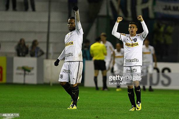Players of Botafogo celebrates their first goal during the match of Gremio and Botafogo as part of Brasileirao Series A 2014 in Estadio Alfredo...