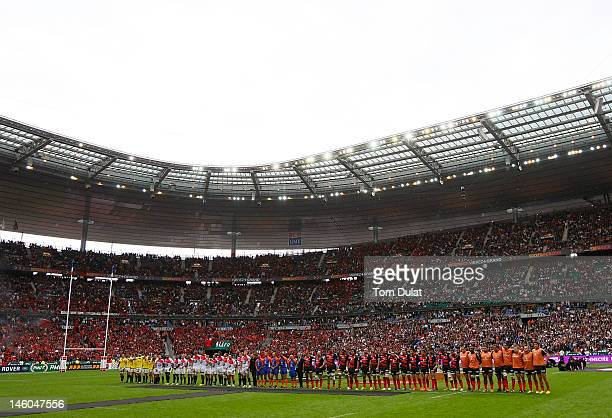 Players of both teams line up prior to the French Top 14 Final match between Toulouse and RC Toulon at Stade de France on June 09 2012 in Paris France