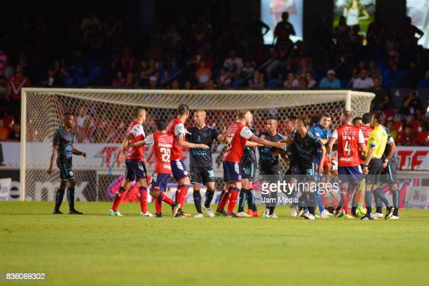 Players of both teams scuffle during the fifth round match between Veracruz and Queretaro as part of the Torneo Apertura 2017 Liga MX at Luis...