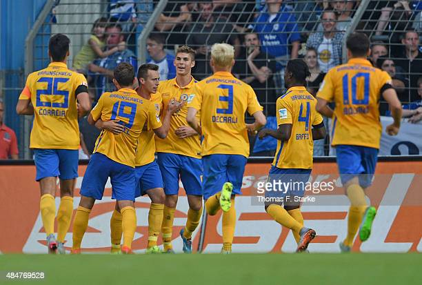 Players of Braunschweig celebrate their teams first goal during the Second Bundesliga match between Arminia Bielefeld and Eintracht Braunschweig at...