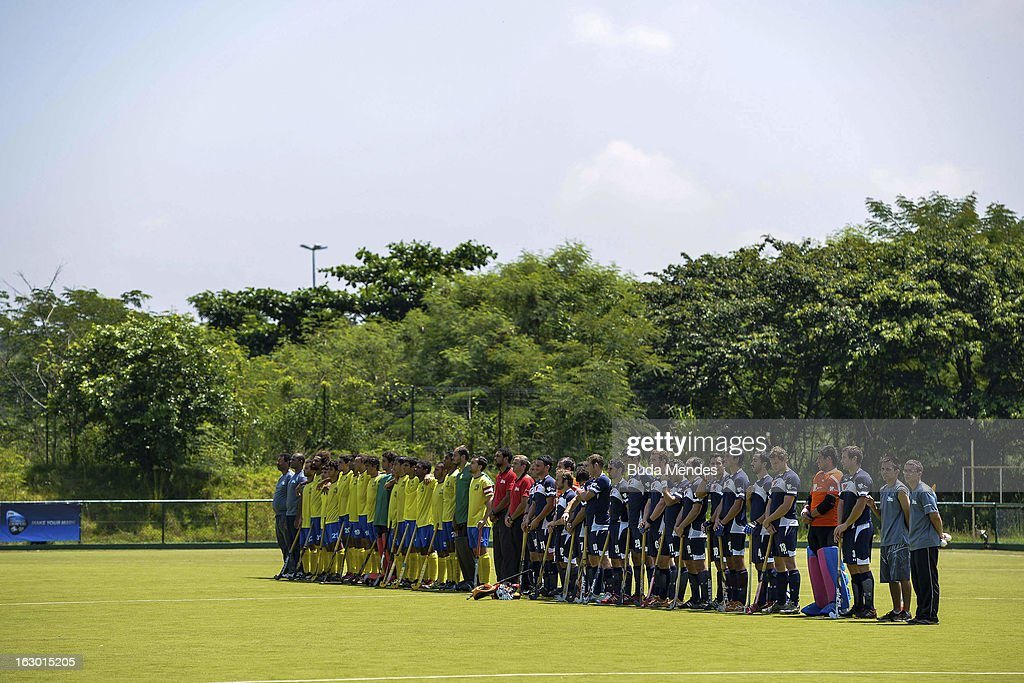 Players of Brazil and Chile line up prior to a match between Brazil and Chile as part of the Hockey World League - Round 2 at Complexo Esportivo de Deodoro on March 03, 2013 in Rio de Janeiro, Brazil.