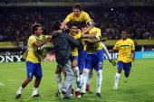 Players of Brazil celebrate after the FIFA U20 World Cup 2011 quarter final match between Brazil and Spain at Estadio Hernan Ramirez Villegas on...