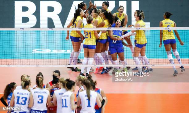Players of Brazil celebrate during 2017 Nanjing FIVB World Grand Prix Finals between Brazil and Serbia on August 5 2017 in Nanjing China