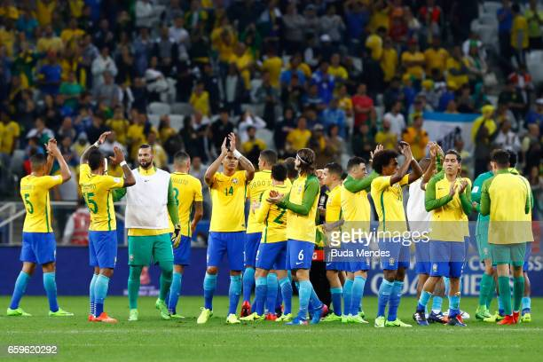 Players of Brazil celebrate the victory against Paraguay during a match between Brazil and Paraguay as part of 2018 FIFA World Cup Russia Qualifier...