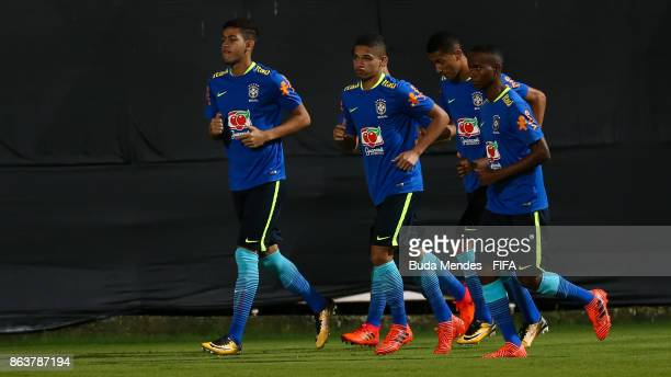 Players of Brazil in action during their training session ahead of the FIFA U17 World Cup India 2017 tournament at Kolkata 2 Training Centre on...