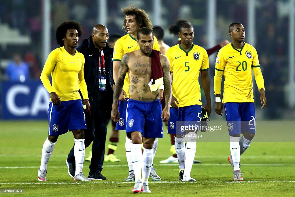 Players of Brazil leave the field after the 2015 Copa America Chile Group C match between Brazil and Venezuela at Monumental David Arellano Stadium on June 21, 2015 in Santiago, Chile.