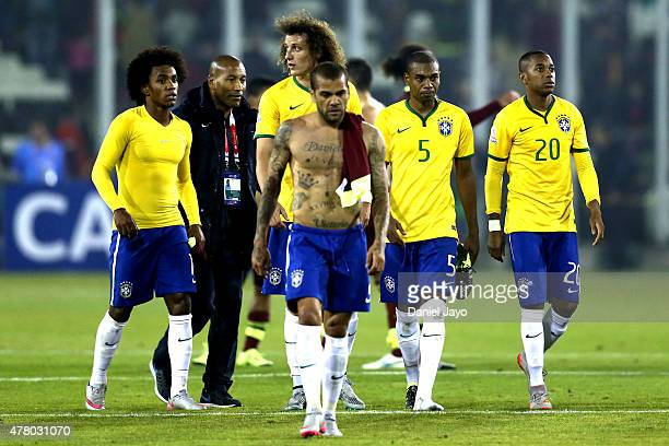 Players of Brazil leave the field after the 2015 Copa America Chile Group C match between Brazil and Venezuela at Monumental David Arellano Stadium...