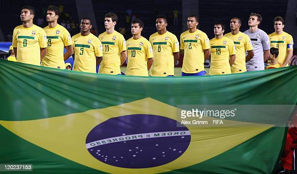 Players of Brazil line up during their national anthem before the FIFA U20 World Cup Group E match between Brazil and Austria at Estadio...