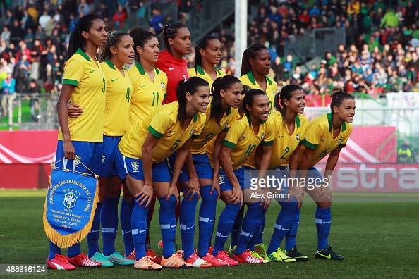 Players of Brazil pose for a team photo prior to the Women's International Friendly match between Germany and Brazil at TrolliArena on April 8 2015...
