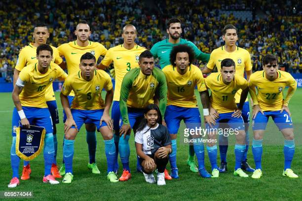 Players of Brazil pose for photographers before a match between Brazil and Paraguay as part of 2018 FIFA World Cup Russia Qualifier at Arena...