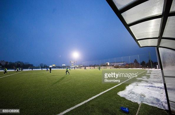 Players of Brazilian football club Fluminense FC and Slovakian football club FC STK Samorin take part in a training session in Samorin Slovakia on...
