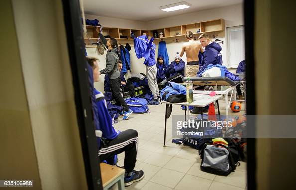 Players of Brazilian football club Fluminense FC and Slovakian football club FC STK Samorin prepare in the locker room before departing for a...