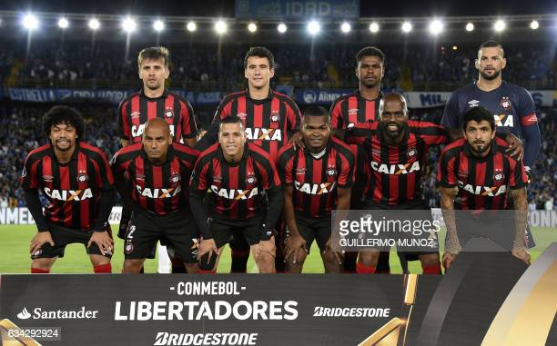 Players of Brazil's Atletico Paranaense pose before a Libertadores Cup football match against Colombia's Millonarios at the El Campin stadium in...