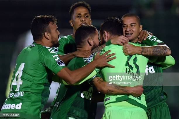 Players of Brazil's Chapecoense celebrate after defeating Argentina's Defensa y Justicia in a penalty shootout during their Copa Sudamericana...