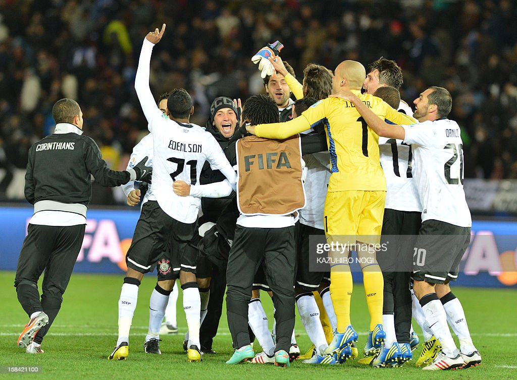 Players of Brazil's Corinthians celebrate their win over English Premier League team Chelsea at the end of the 2012 Club World Cup football final match at Yokohama on December 16, 2012. Corinthians beat Chelsea 1-0.