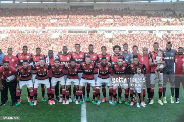 Players of Brazil's Flamengo pose before the final of their Copa Carioca football match against Fruminense at Maracana stadium in Rio de Janeiro...
