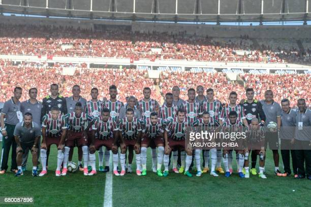 Players of Brazil's Fluminense pose before the final of their Copa Carioca football match against Flamengo at Maracana stadium in Rio de Janeiro...