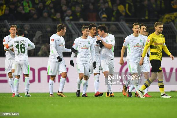 players of Bremen celebrate after Martin Eggestein of Bremen scored a goal to make it 10 during the Bundesliga match between Borussia Dortmund and SV...