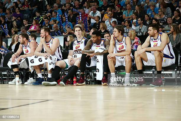 Players of Brisbane look on from the bench during the round five NBL match between the New Zealand Breakers and the Brisbane Bullets at Vector Arena...