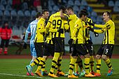 Players of BSC Young Boys celebrate scoring during the UEFA Europa League Group I football match SK Slovan Bratislava vs BSC Young Boys in Bratislava...