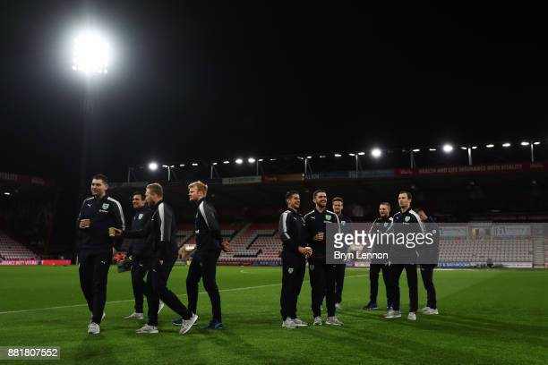 Players of Burnley inspect the pitch prior to the Premier League match between AFC Bournemouth and Burnley at Vitality Stadium on November 29 2017 in...