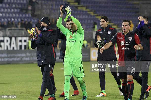 Players of Cagliari at the end of the Serie A match between Cagliari Calcio and US Sassuolo at Stadio Sant'Elia on December 22 2016 in Cagliari Italy