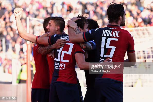 Players of Cagliari celebrate after scoring their second goal during the Serie B match between Cagliari Calcio and Pescara Calcio at Stadio Sant'Elia...