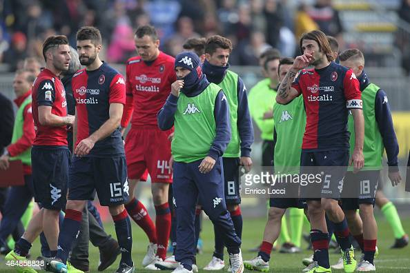 Players of Cagliari leave the pitch at the end of the Serie A match between Cagliari Calcio and Hellas Verona FC at Stadio Sant'Elia on March 1 2015...