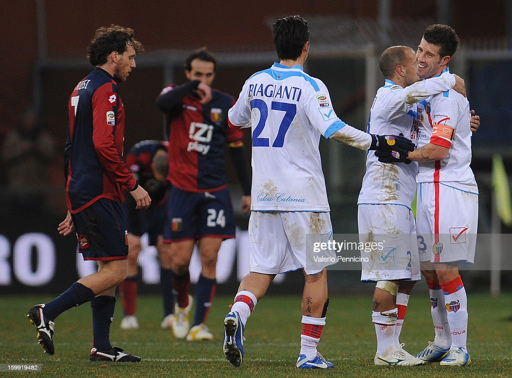 Players of Calcio Catania celebrate victory at the end of the Serie A match between Genoa CFC and Calcio Catania at Stadio Luigi Ferraris on January 20, 2013 in Genoa, Italy.