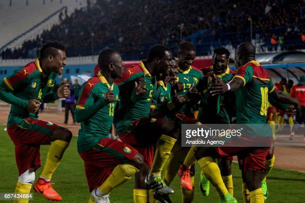 Players of Cameroon celebrate the goal during the friendly football match between Tunisia and Cameroon at the Ben Jannet stadium in Monastir Tunisia...