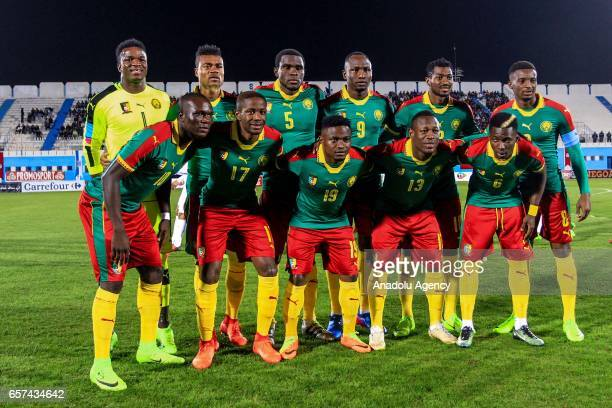 Players of Cameroon pose for a photo ahead of the friendly football match between Tunisia and Cameroon at the Ben Jannet stadium in Monastir Tunisia...
