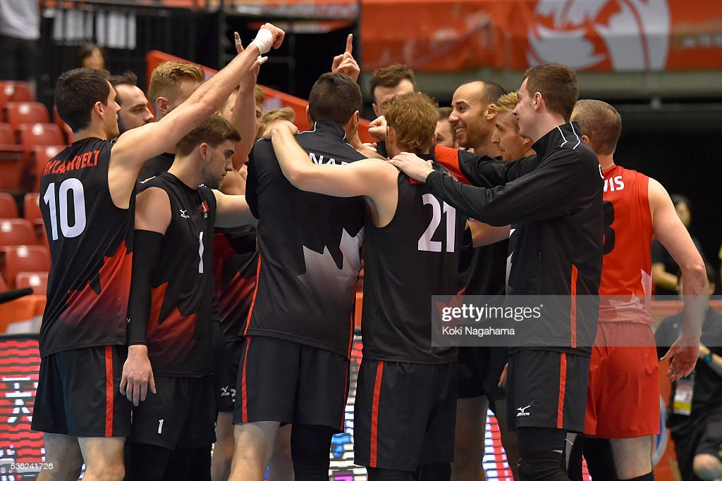 Players of Canada celebrae after the Men's World Olympic Qualification game between Venezuela and Canada at Tokyo Metropolitan Gymnasium on June 1, 2016 in Tokyo, Japan.
