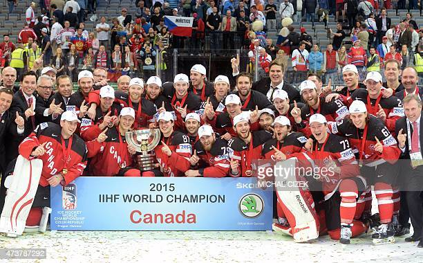Players of Canada celebrate with the trophy after winning the gold medal match Canada vs Russia at the 2015 IIHF Ice Hockey World Championships on...