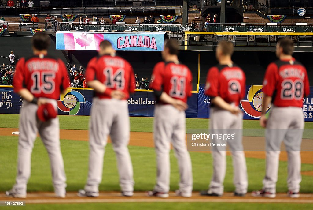 Players of Canada line up for introductions before the World Baseball Classic First Round Group D game against Mexico at Chase Field on March 9, 2013 in Phoenix, Arizona. Canada defeated Mexico 10-3.