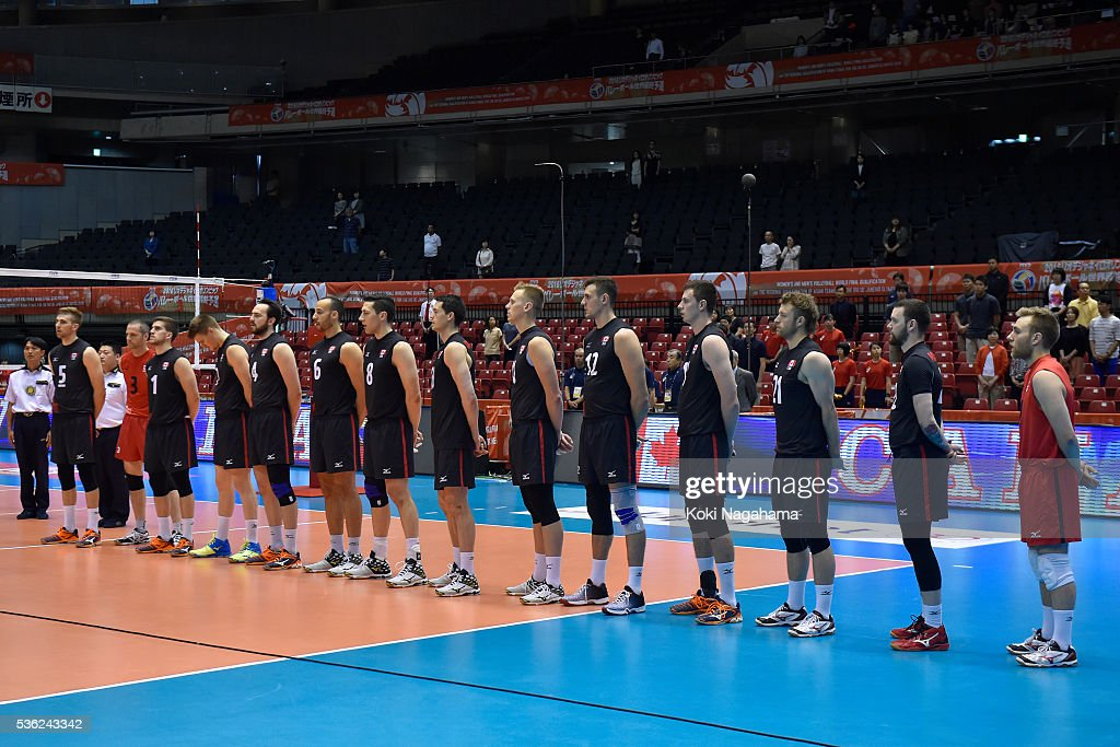 Players of Canada line up for their national anthem prior to the Men's World Olympic Qualification game between Venezuela and Canada at Tokyo Metropolitan Gymnasium on June 1, 2016 in Tokyo, Japan.