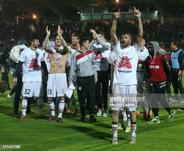 Players of Carpi celebrate after being promoted to Serie A during the Serie B match between Carpi FC and FC Bari at Stadio Sandro Cabassi on April 28...