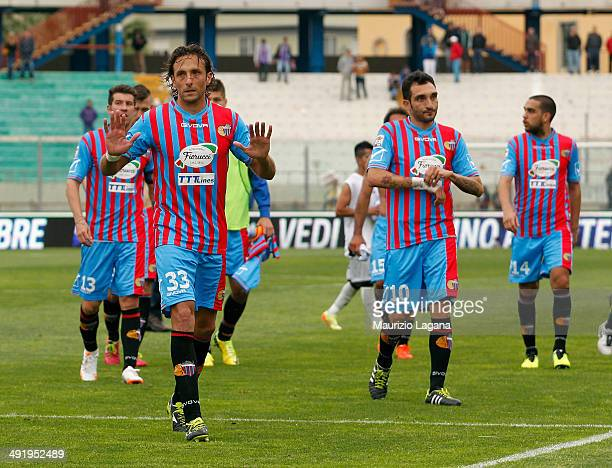 Players of Catania react during the Serie A match between Calcio Catania and Atalanta BC at Stadio Angelo Massimino on May 18 2014 in Catania Italy