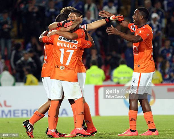 Players of Cesar Vallejo celebrate the victory after a match between Millonarios and Cesar Vallejo as part of Copa Total Sudamericana 2014 at Nemesio...