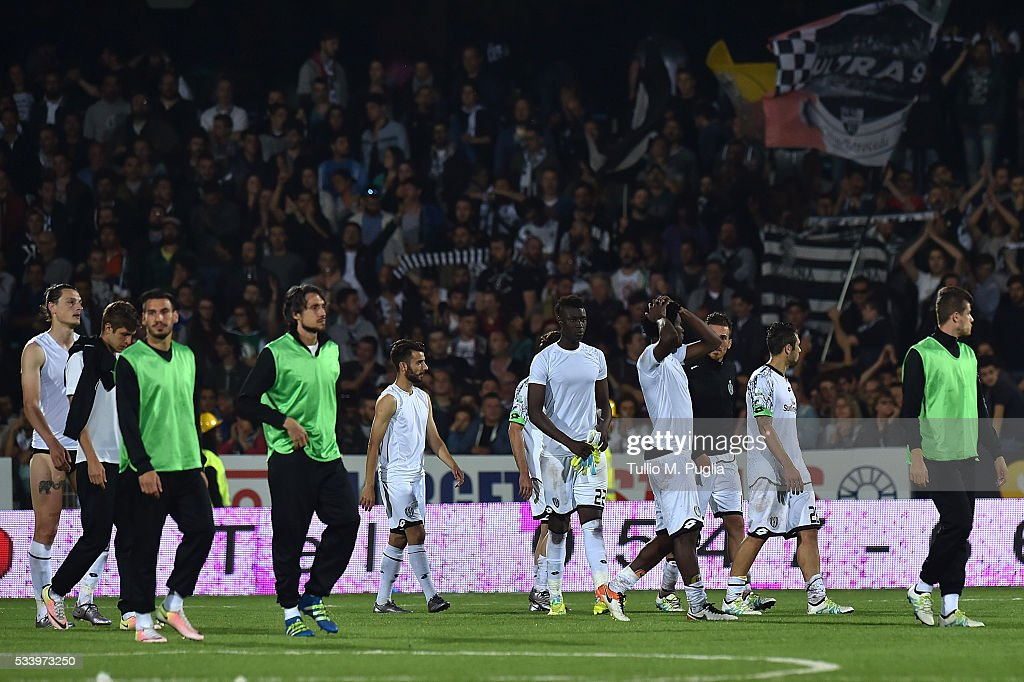 Players of Cesena show their dejection after losing the Serie B playoff match between AC Cesena and AC Spezia on May 24, 2016 in Cesena, Italy.