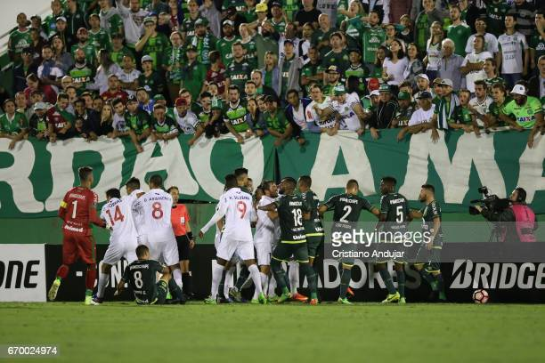 Players of Chapecoense and Nacional start a confusion after a on the ball during a match between Chapecoense and Nacional Uruguai as part of Copa...