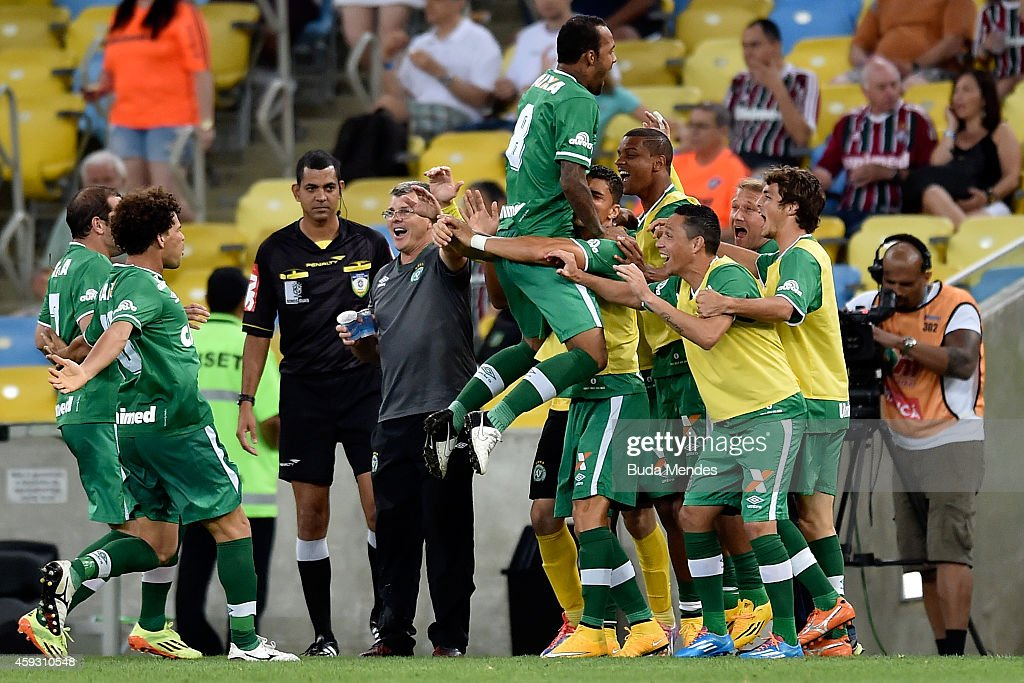 Players of Chapecoense celebrate a scored goal during a match between Fluminense and Chapecoense as part of Brasileirao Series A 2014 at Maracana...