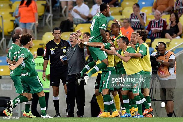 Players of Chapecoense celebrate a scored goal during a match between Fluminense and Chapecoense as part of Brasileirao Series A 2014 at Maracana...