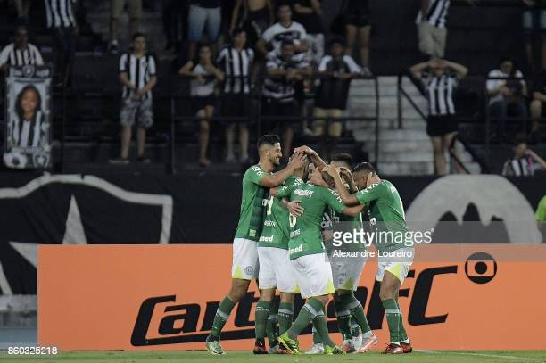Players of Chapecoense celebrates a scored goal by Apodi during the match between Botafogo and Chapecoense as part of Brasileirao Series A 2017 at...