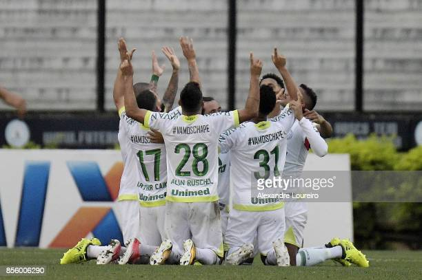 Players of Chapecoense celebrates a scored goal by Reinaldo during the match between Vasco da Gama and Chapecoense as part of Brasileirao Series A...