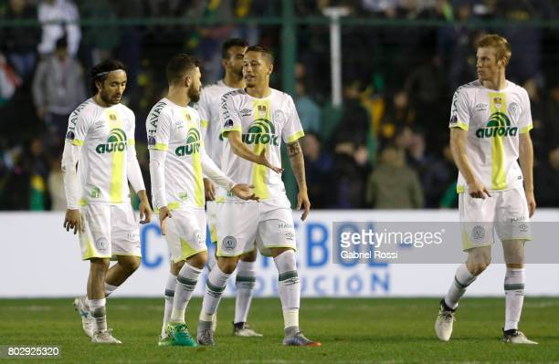Players of Chapecoense leave the field after a first leg match between Defensa y Justicia and Chapecoense as part of second round of Copa Conmebol...