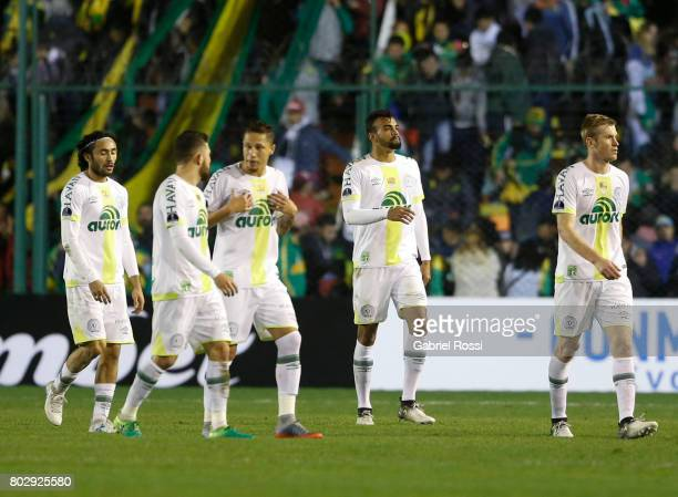 Players of Chapecoense leave the field during a first leg match between Defensa y Justicia and Chapecoense as part of second round of Copa Conmebol...