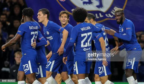 Players of Chelsea celebrate after scoring during the UEFA Champions League Group C match between Chelsea FC and Qarabag FK at Stamford Bridge on...
