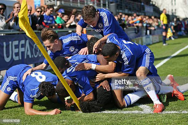 Players of Chelsea FC celebrate a goal from Isaiah Brown during the UEFA Youth League Final match between Shakhtar Donetsk and Chelsea FC at Colovray...